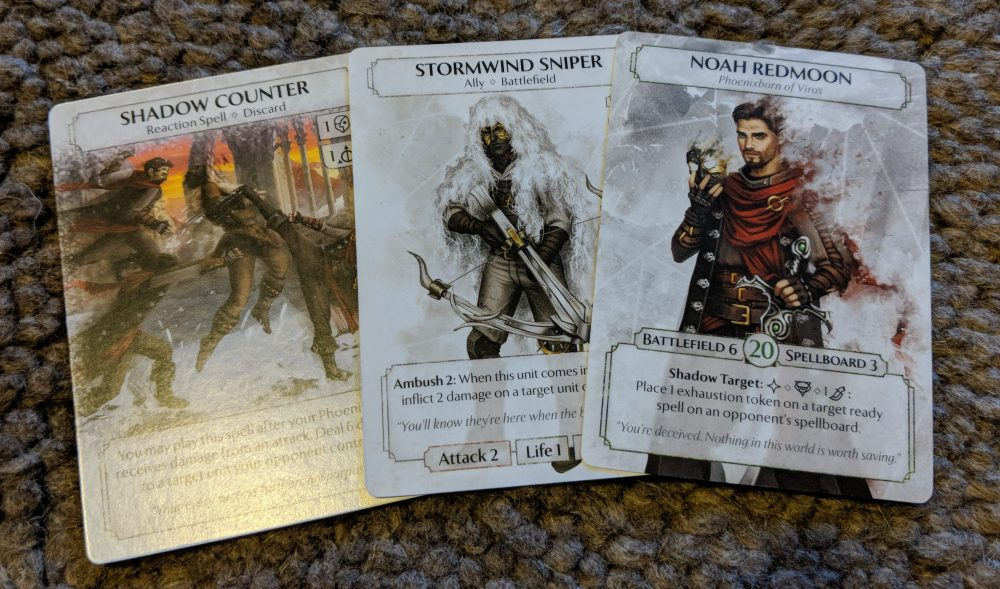Phoenixborn cards - Noah Redmoon, Stormwing Sniper and Shadow Counter